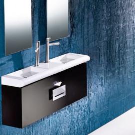 L023 раковина 1020мм двойная подвесная/накладная мебельная с отверстиями под смесители AET беоая черная цветная
