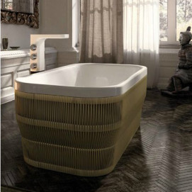 Pearl Glass отдельно стоящая прямоугольная ванна с панелью переплетённой верёвками