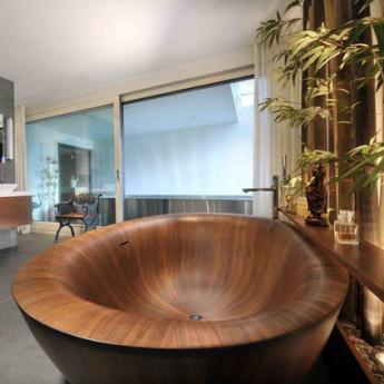 Laguna Pearl Bagno Sasso ванна из дерева овальная отдельно стоящая