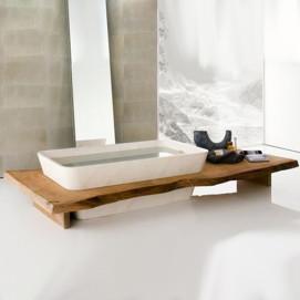 DUO Neutra ванна из натурального камня со столешницей массива дерева