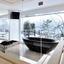Ocean Sailor ванна из дерева черная Bagno Sasso