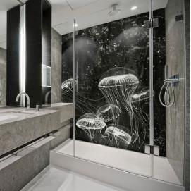 Стеновая панель, влагостойкая из алюминия с изображением медуз. Стоимость за м2.