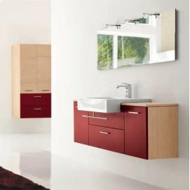 """ BYTE 77 A"" Комплект мебели L140, отделка корпус ""Schnee-Eiche"" фасад ""Rubino Matt""  Mastella"