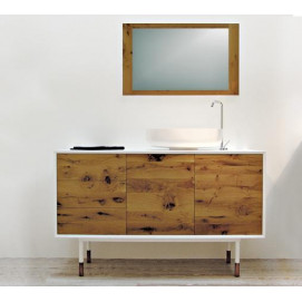 art. 2233 Linea Materia Мебель для ванной с дубовыми пластинами, со стеклянной столешницей и зеркалом Bianco Cristallino