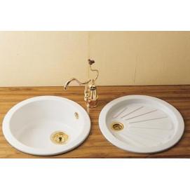 LUBERON HERBEAU мойка из керамики для кухни круглая 46 см встраиваемая белая или с декором