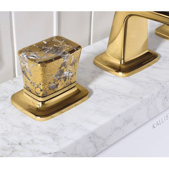 Per Se Decorative Kallista смеситель на 3 отверстия нео классика с хрустальными ручками с золотыми вкраплениями