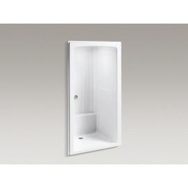 Freewill® душевая ниша из белого акрила (стенки и поддон) с поручнями и сиденьем