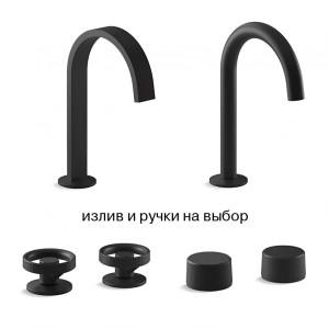 Components Kohler смеситель лофт для раковины черный на 3 отверстия с высоким изливом, В НАЛИЧИИ