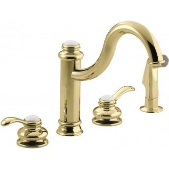 Kohler Fairfax ретро смеситель для кухни на 4 отв, полированное золото, с боковым душем В НАЛИЧИИ