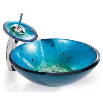 Kraus раковина дизайнерская чаша стекло накладная круглая синяя 42 см