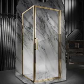 Душевое дизайнерское ограждение в неоклассическом стиле хром, золото, никель