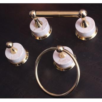 Комплект аксессуаров для ванной комнаты бежевый мрамор и золото Phylrich