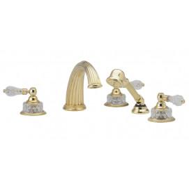 набортный смеситель для ванны с хрустальными ручками  с ручным душем и Phylrich Regent Cut Crystal