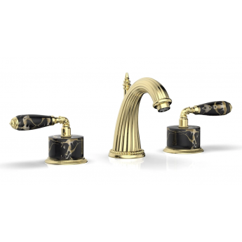 Valencia Phylrich смеситель премиум для раковины с ручками черный мрамор, золото В НАЛИЧИИ