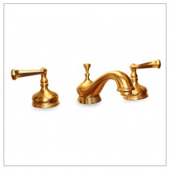 Смеситель для раковины на 3 отверстия в классическом стиле цвет матовое золото купить в наличии