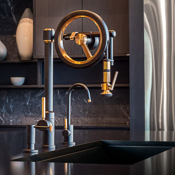 WHEEL смеситель для кухни с вытяжным душем (хром, никель, золото, бронза)