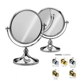 Зеркало косметическое круглое настольное двустороннее (с одной стороны увеличительное) Windisch хром золото бронза