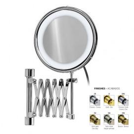 Зеркало косметическое увеличительное подвесное с подсветкой (лампа) на держателе гармошке Windisch