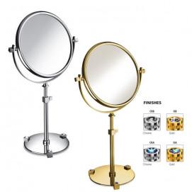 Зеркало настольное круглое двухстороннее на подставке с регулировкой по высоте хром или золото с кристаллами сваровски Windisch MOON LIGHT ROUND