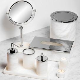 Аксессуары для ванной из белого матового полупрозрачного натурального камня Windisch Alabaster
