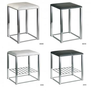 Табурет (стул) для ванной комнаты сиденье натуральная кожа (белая или темно-коричневая) ножки хром Windisch