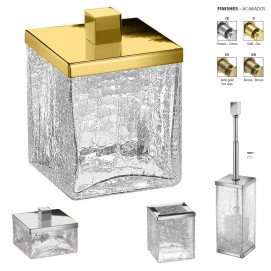 BOX CRACKED CRYSTAL GLASS Windisch аксессуары для ванной из стекла с кракелюрами квадратной формы в наличии