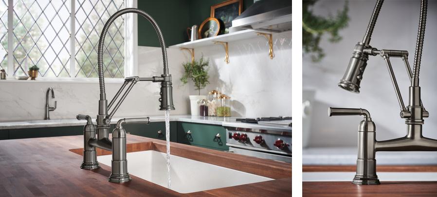 Rook смеситель премиум для кухни с гибким душем лофт не классика хром золото никель